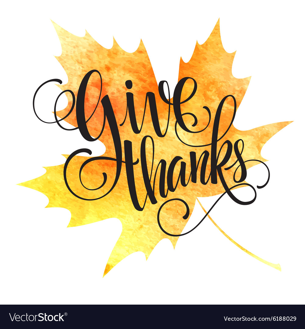 Thanksgiving background watercolor autumn leaves vector