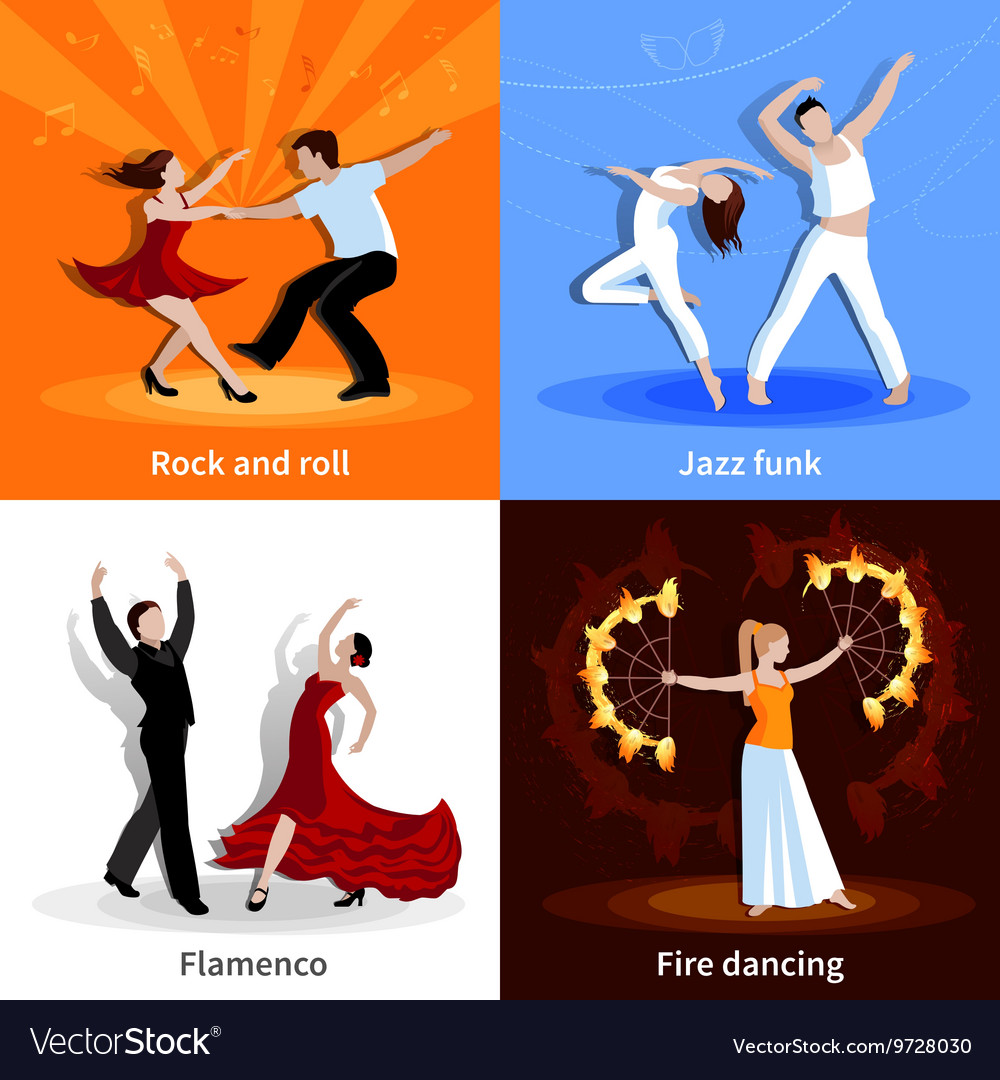 Dancing people 2x2 icons set vector