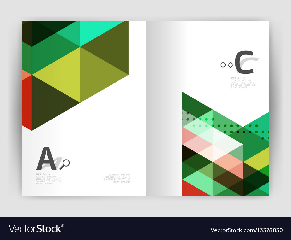 Modern triangle print template vector