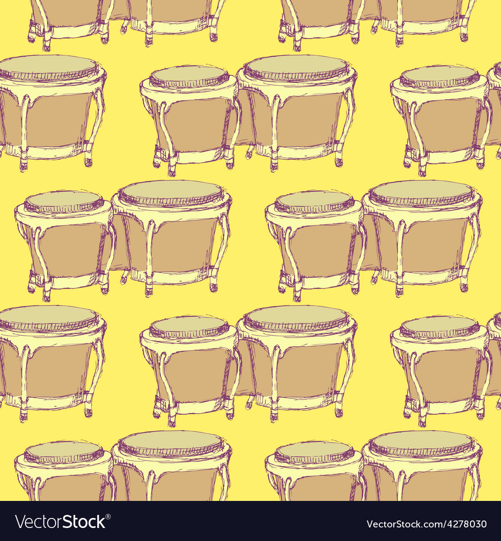 Sketch bongos musical instrument in vintage style vector