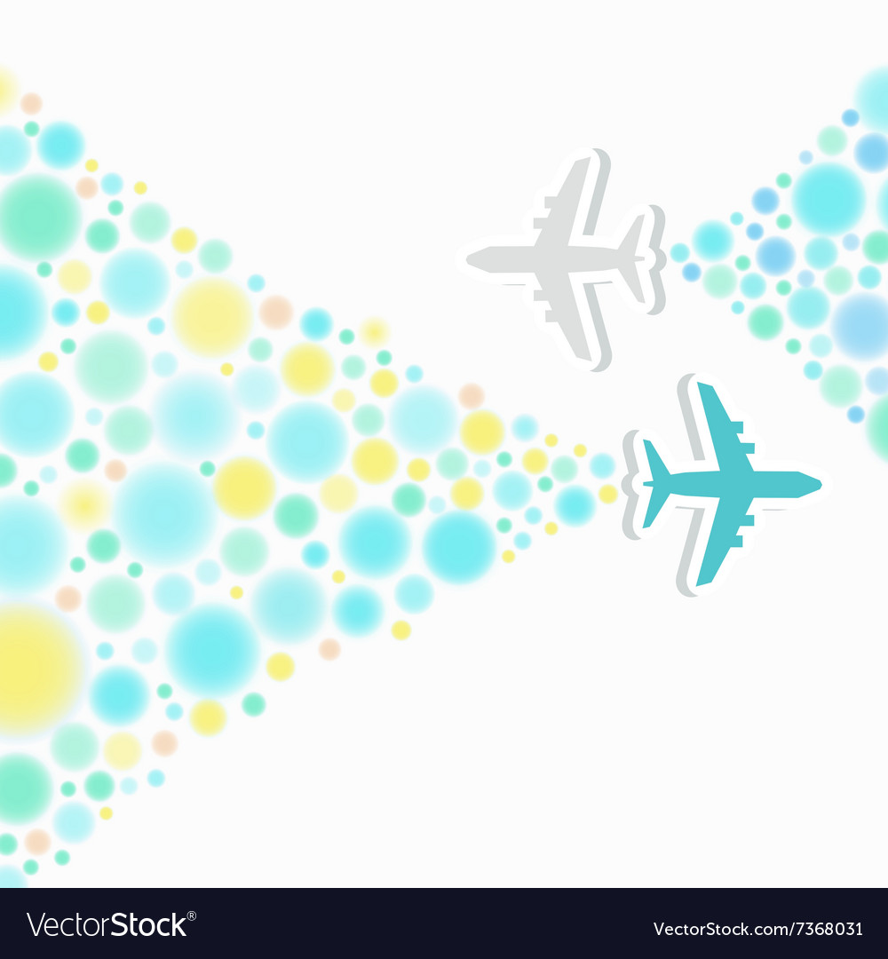 Card with two planes and colored trace of them vector