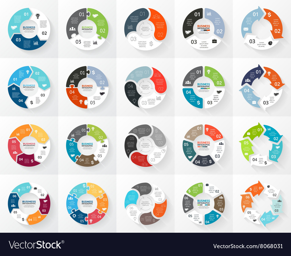 Circle arrows infographics set 3 4 5 6 vector