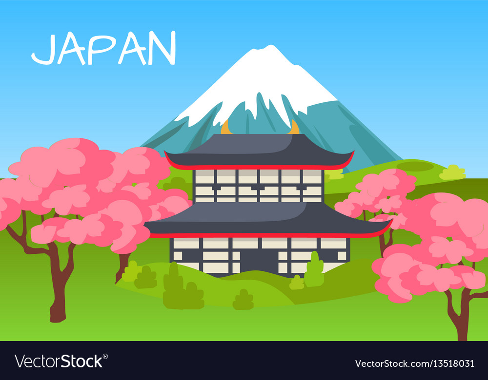Japan touristic concept with national symbols vector