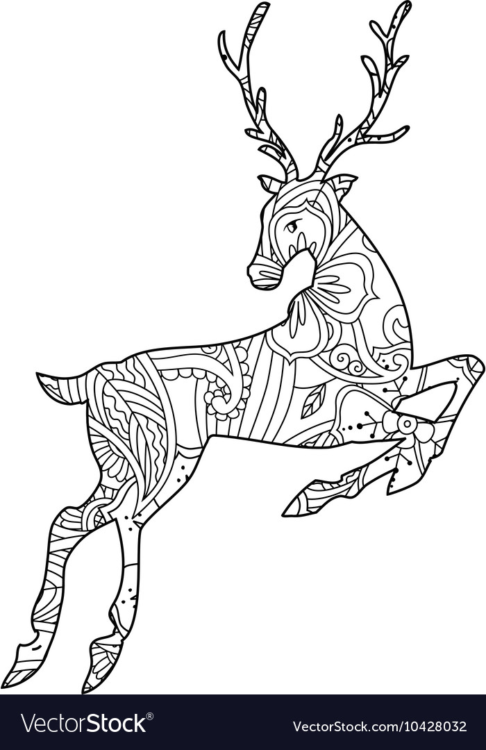 Coloring page with bohemian running deer isolated vector