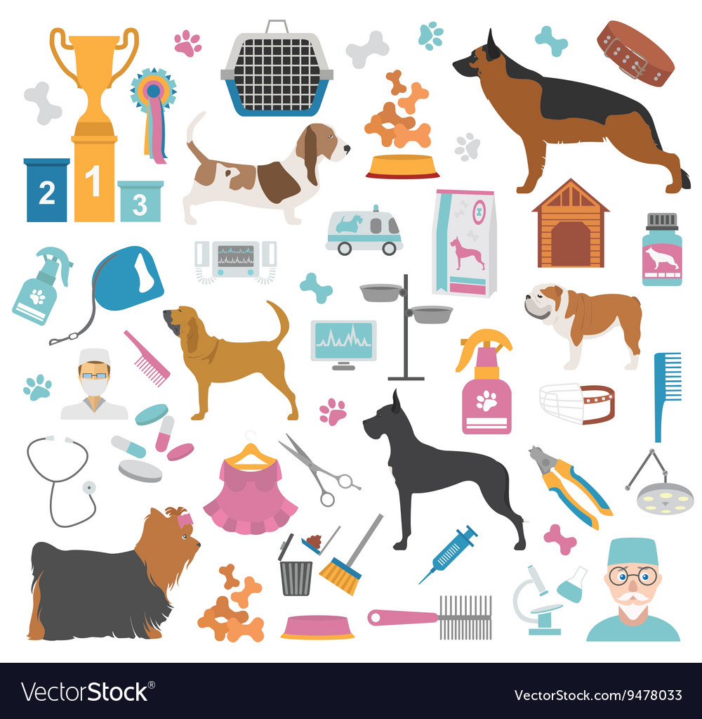 Dog icon set heatlh care vet nutrition exhibition vector