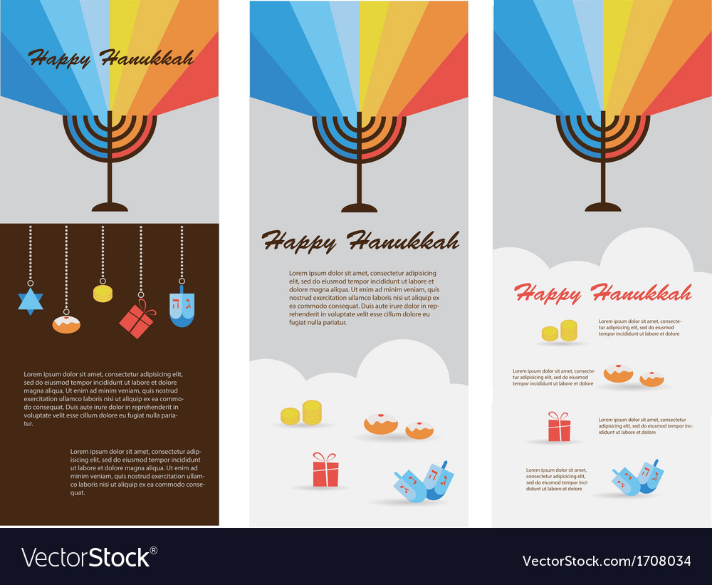 Set of three cards with hanukkah infographics vector