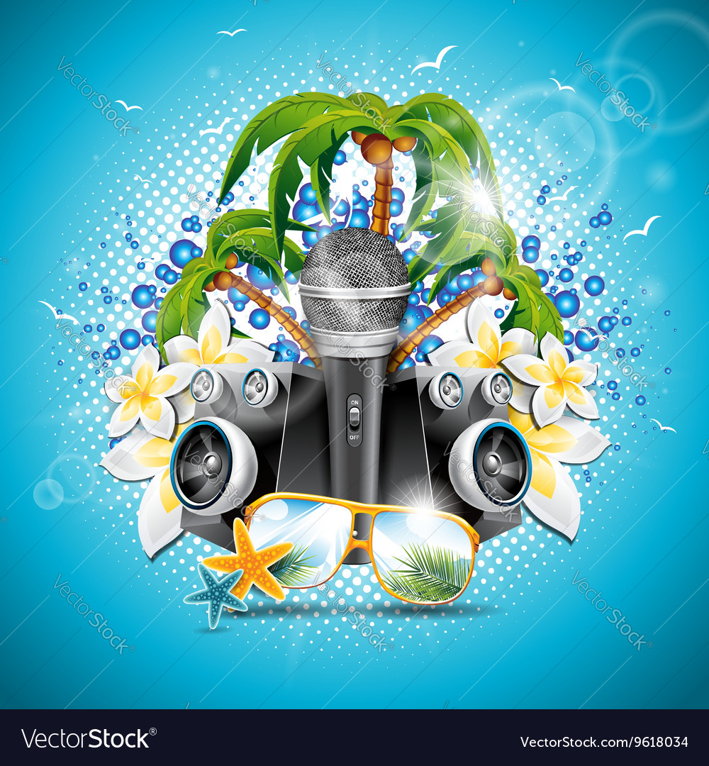 Summer holiday on a music and party theme vector