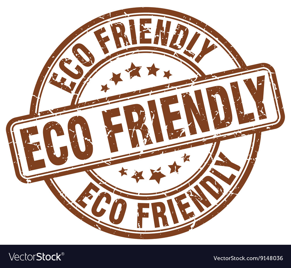 Eco friendly brown grunge round vintage rubber vector