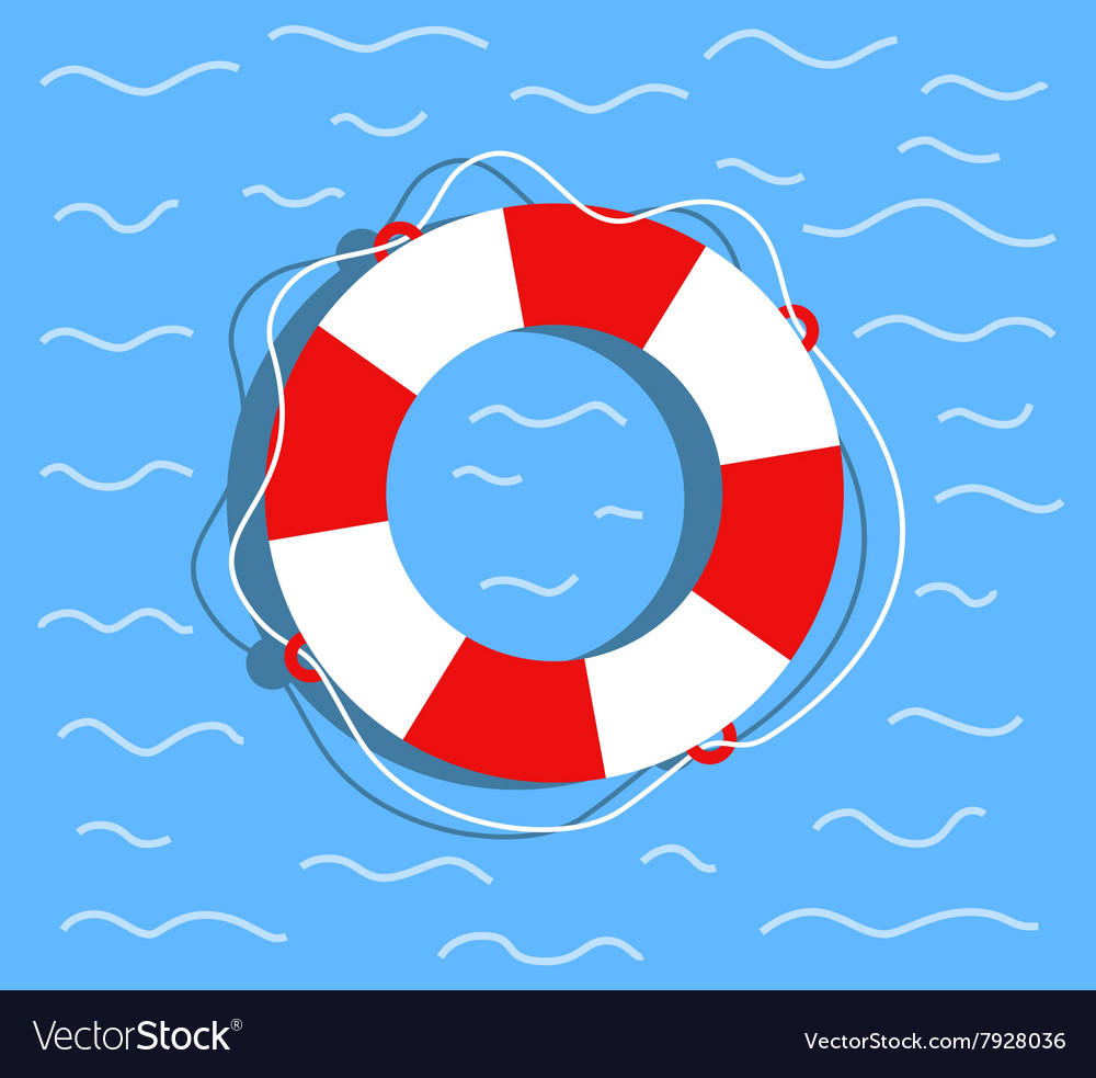 Lifebuoy on the water flat style vector