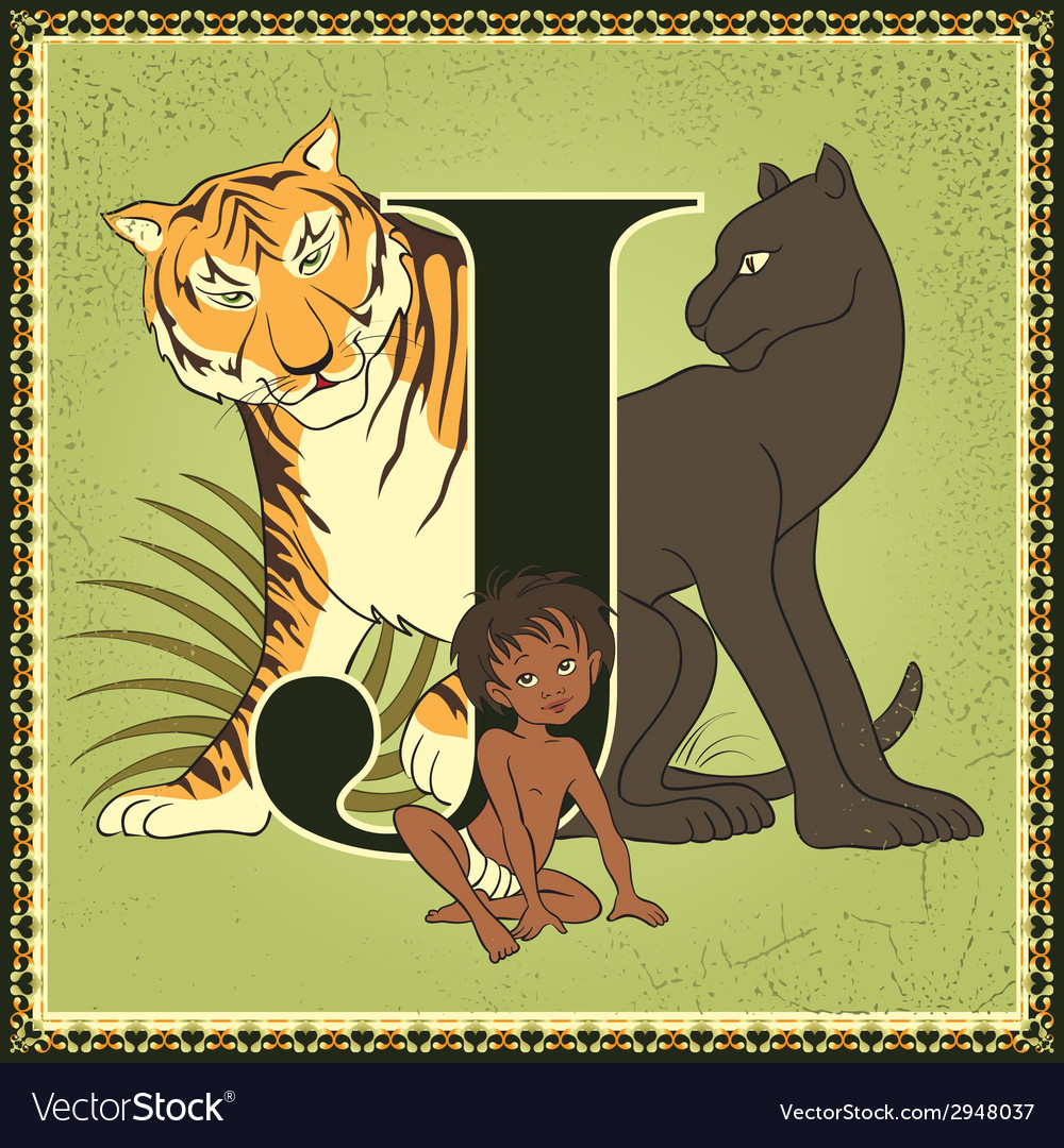 Letter j the jungle book vector