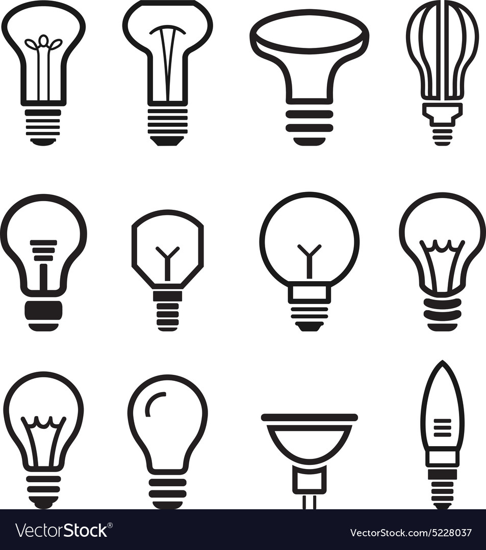 Light bulb set icons on white background vector