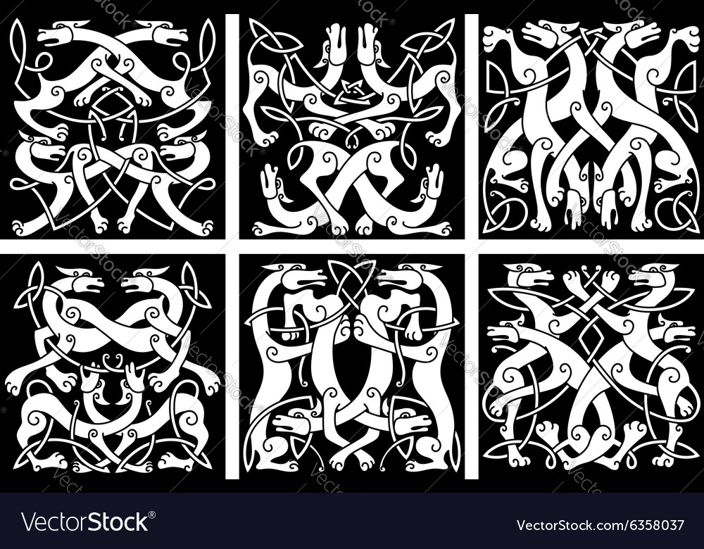Wolves or dogs patterns with celtic ornament vector