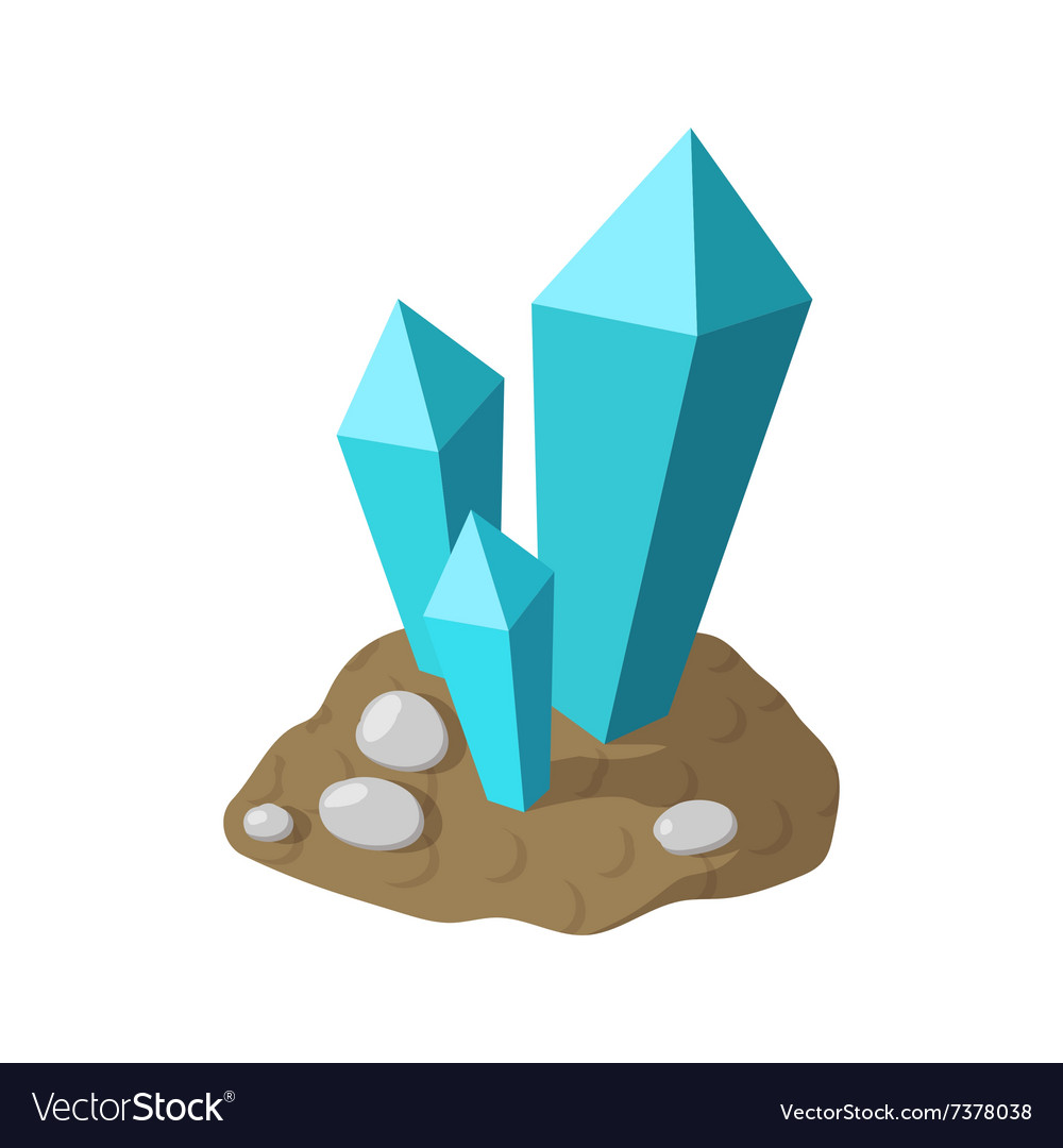 Crystals in earth cartoon icon vector