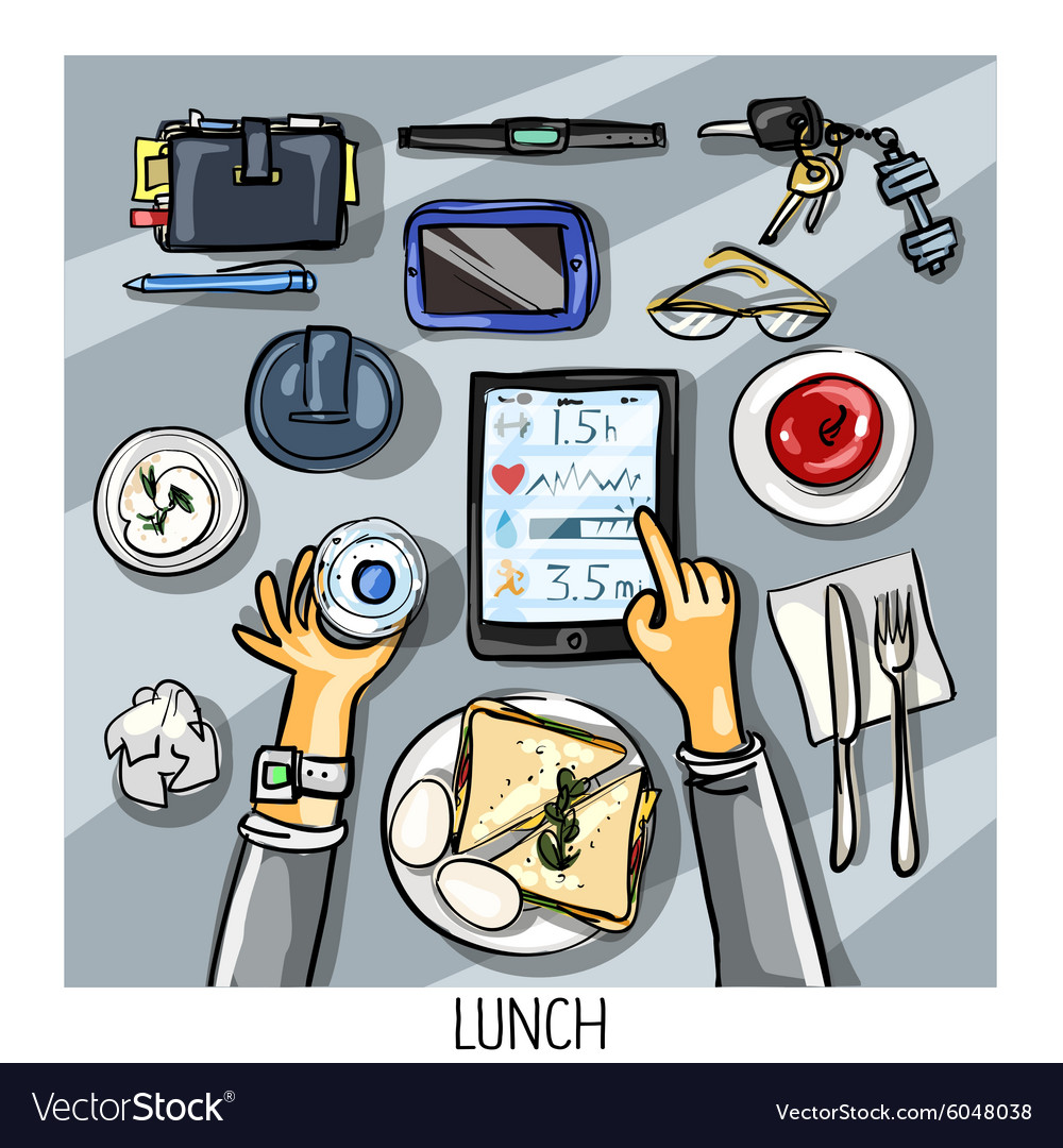 Top view background  person having lunch vector