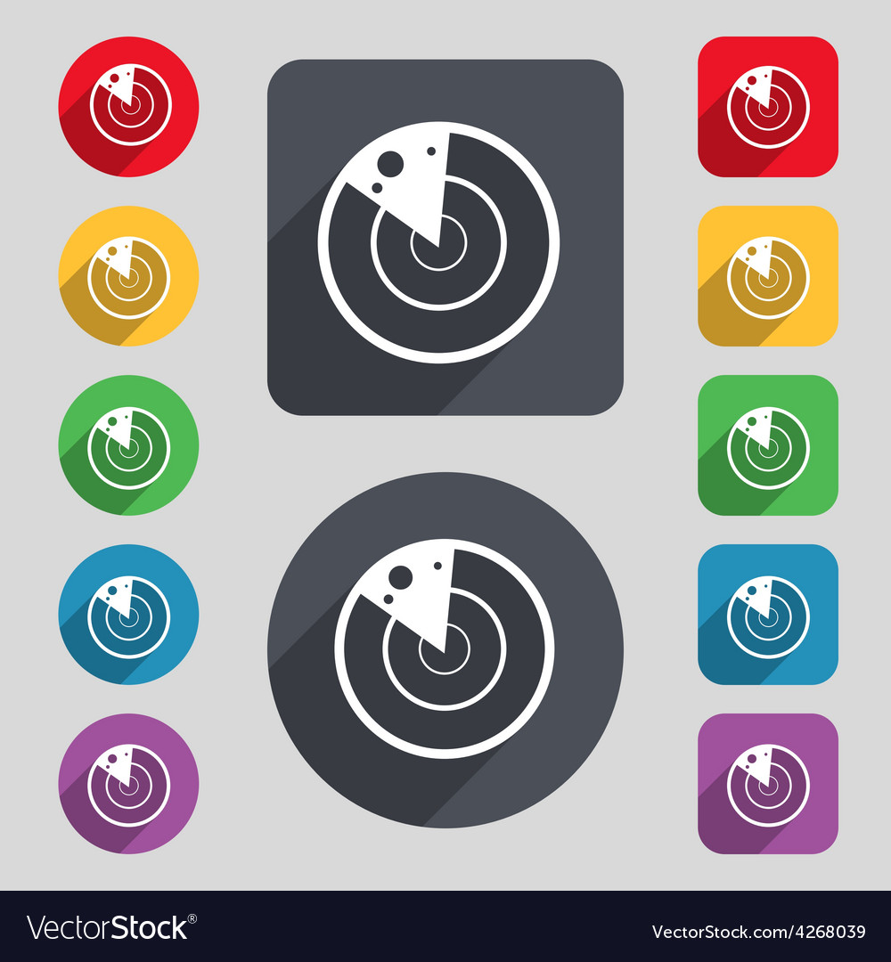 Icon sign a set of 12 colored buttons and a long vector