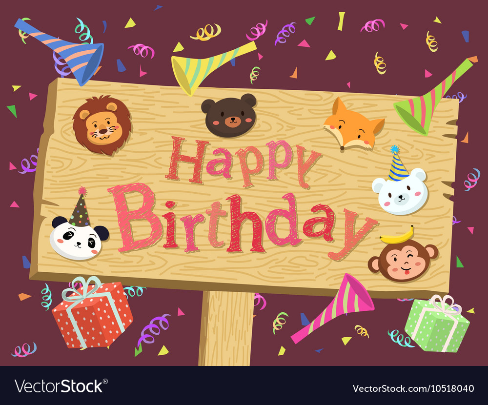 Animal birthday board cartoon vector