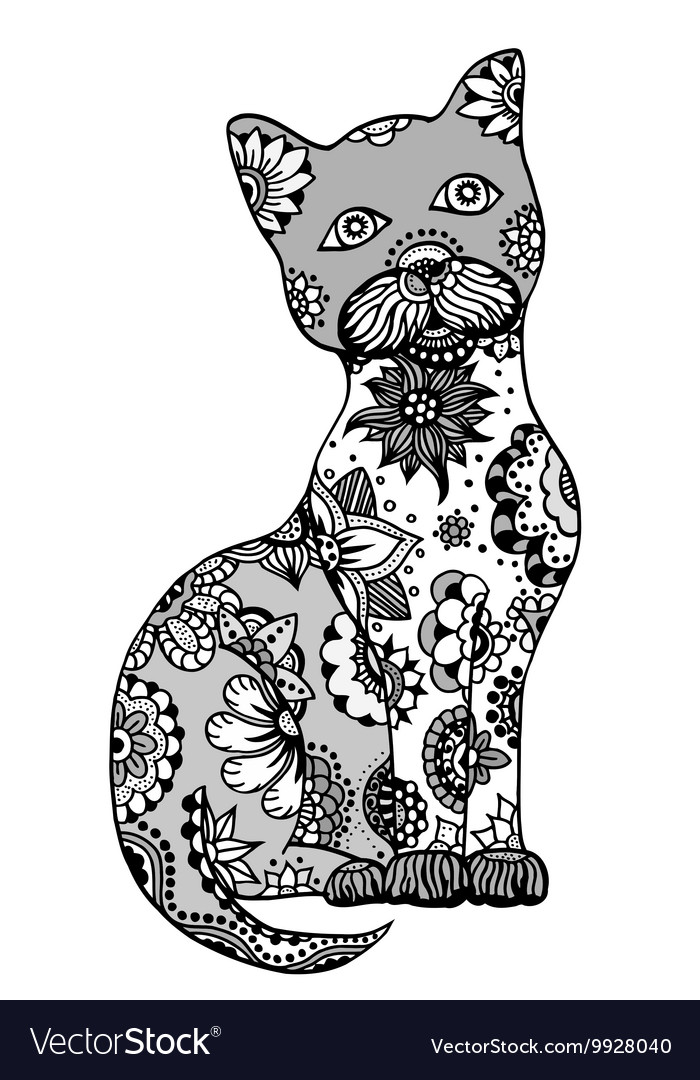 Hand drawn cat vector