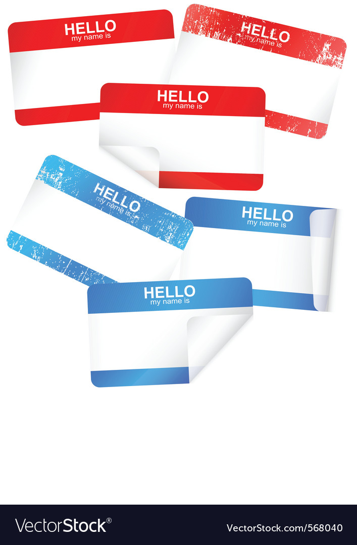 Set of blank adhesive name badges vector