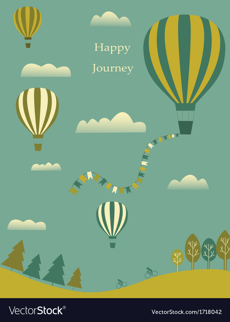 Hot air balloons in the sky vector