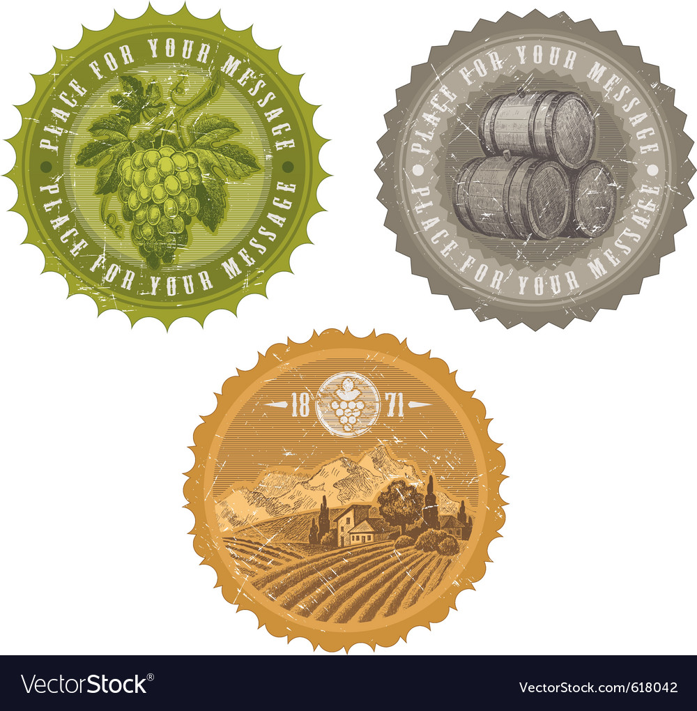 Vintage labels  viticulture and winemaking vector