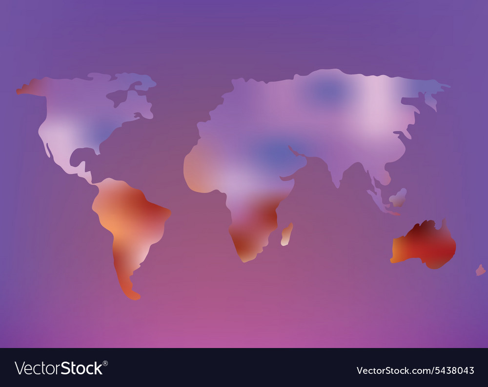 Futuristic world map with glow effect vector
