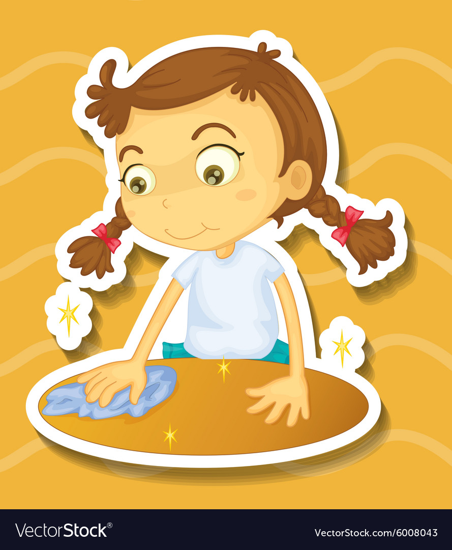 Little girl cleaning the table vector