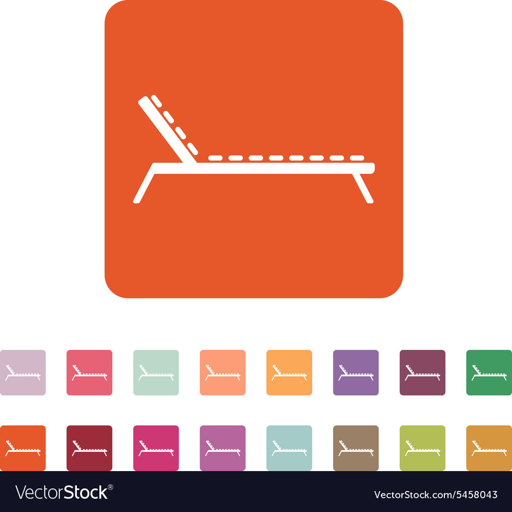 Lounger icon sunbed symbol flat vector