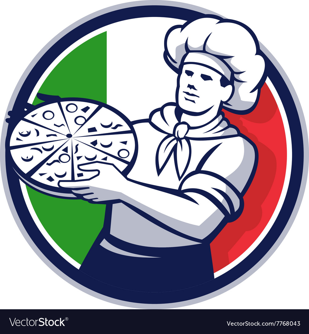 Pizza chef holding pizza italy flag circle retro vector