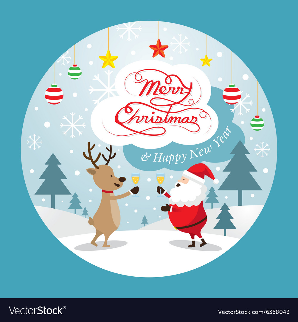 Santa claus and reindeer drinking champagne label vector