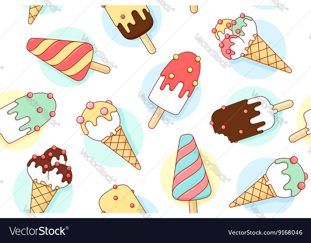 Colorful seamless pattern with ice cream different vector