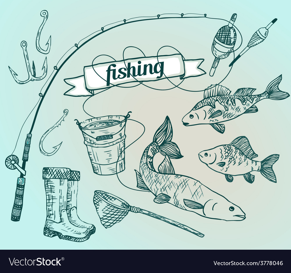 Drawn set fishing rod salmon perch bucket fish vector