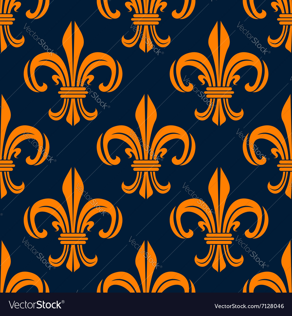 Seamless pattern with fleurdelis floral scrolls vector