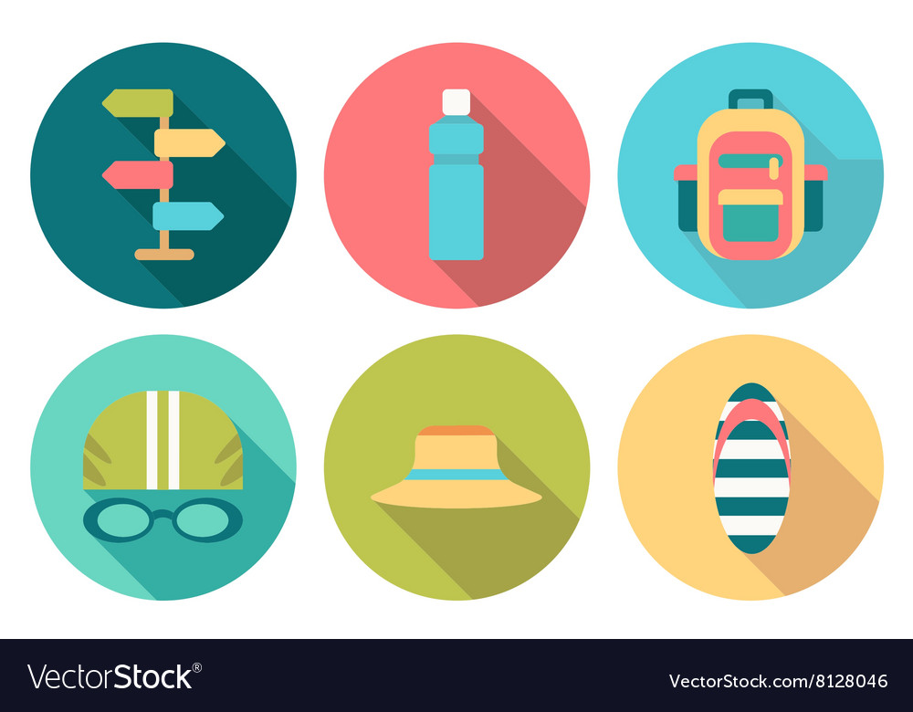 Set of flat round summer icons with shadow vector