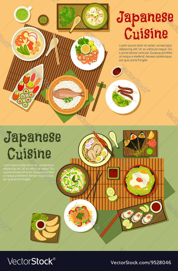Traditional japanese seafood dishes flat icon vector