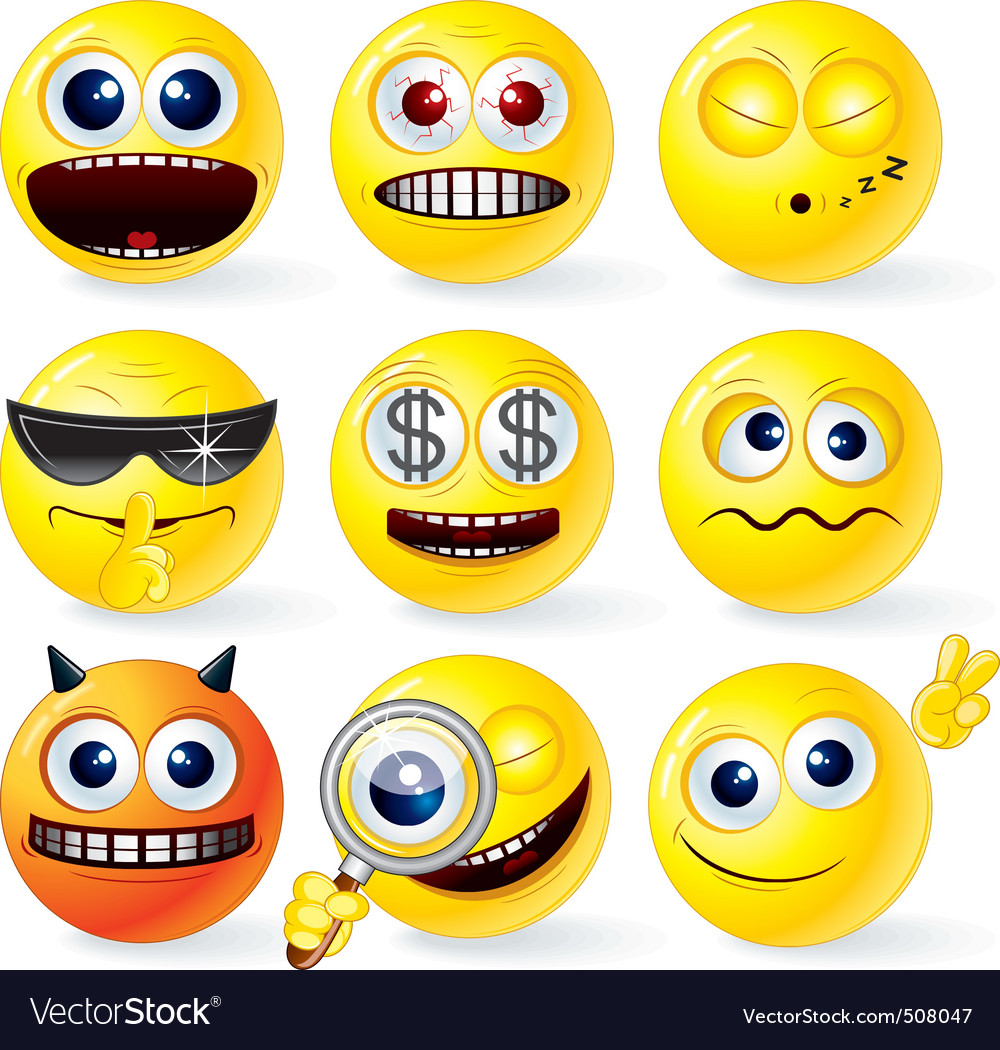 Cartoon smilies emoticons set vector