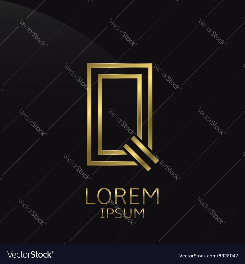 Golden q letter vector