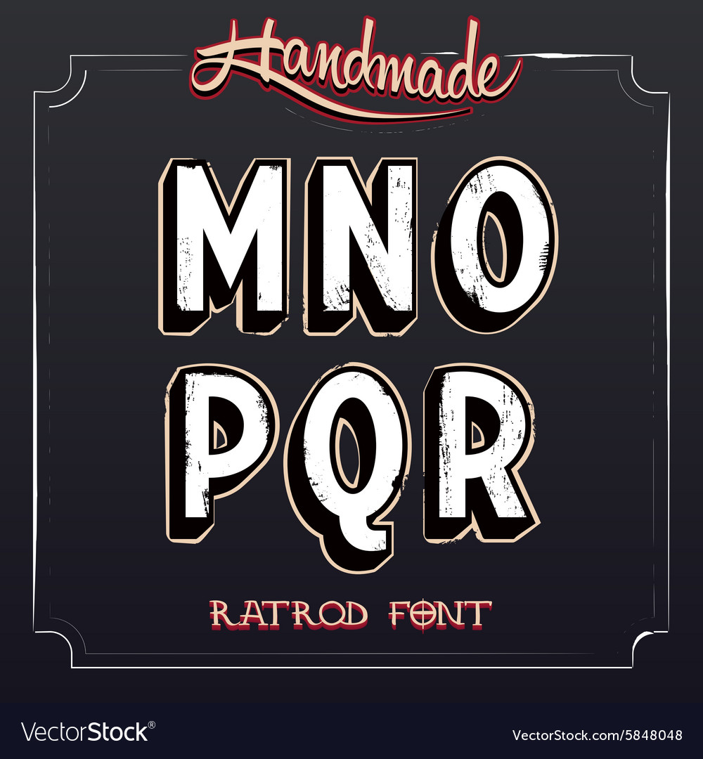 Retro vintage label alphabet vector
