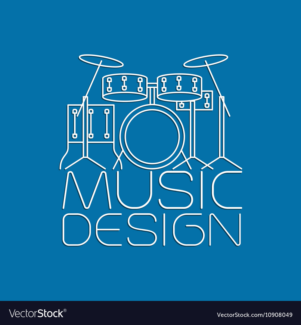 Music design with drum kit logo vector