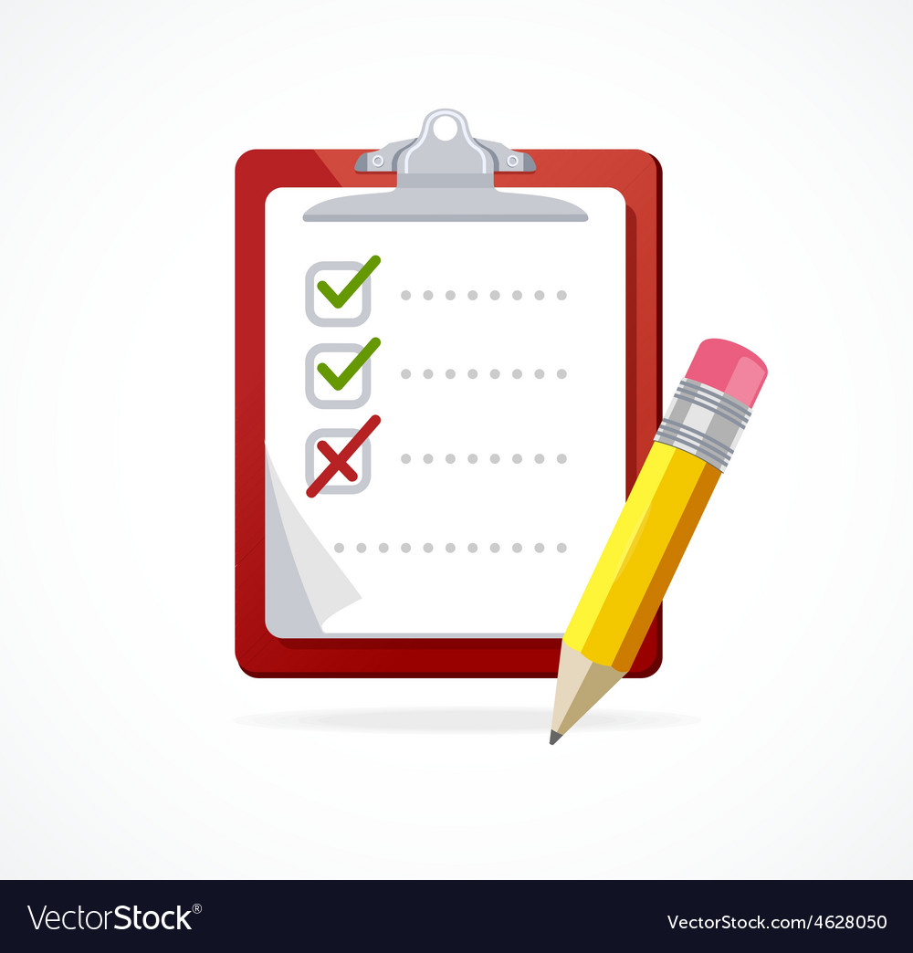 Checklist on a red board flat design vector
