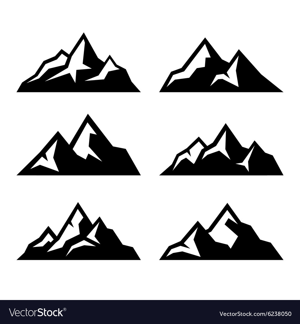 Mountain icons set on white background vector