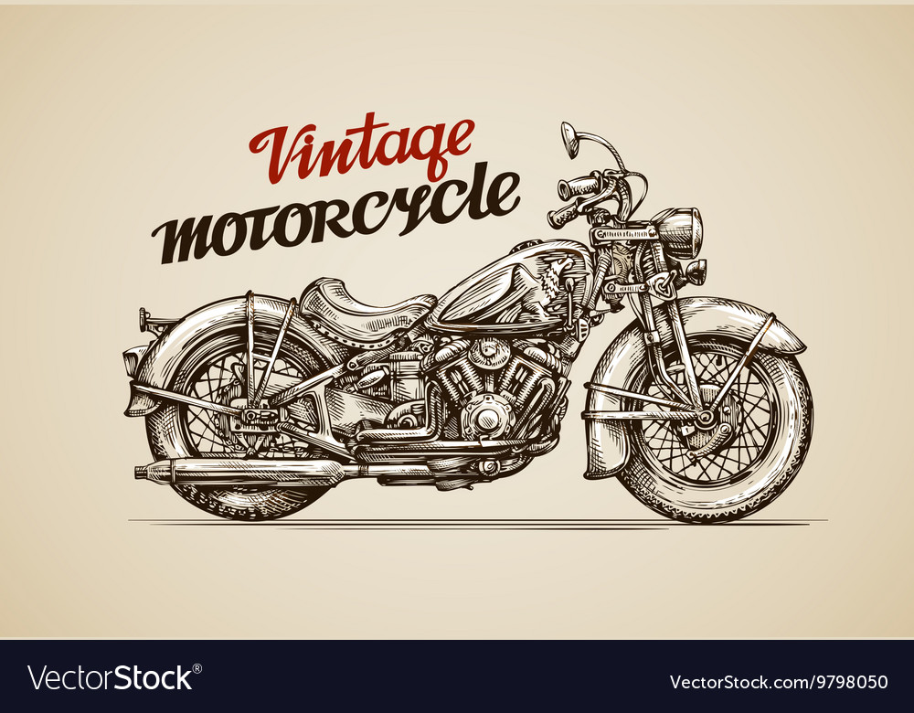 Vintage motorcycle hand drawn motorbike vector