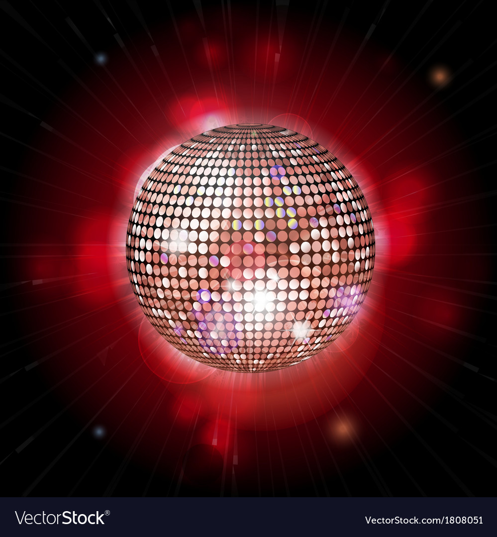 Glowing disco ball with lens flares vector