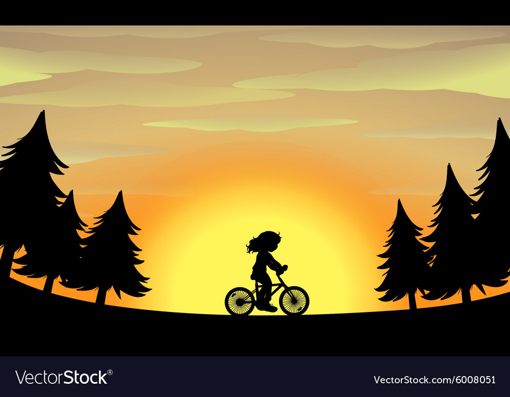 Silhouette girl riding bike in the park vector