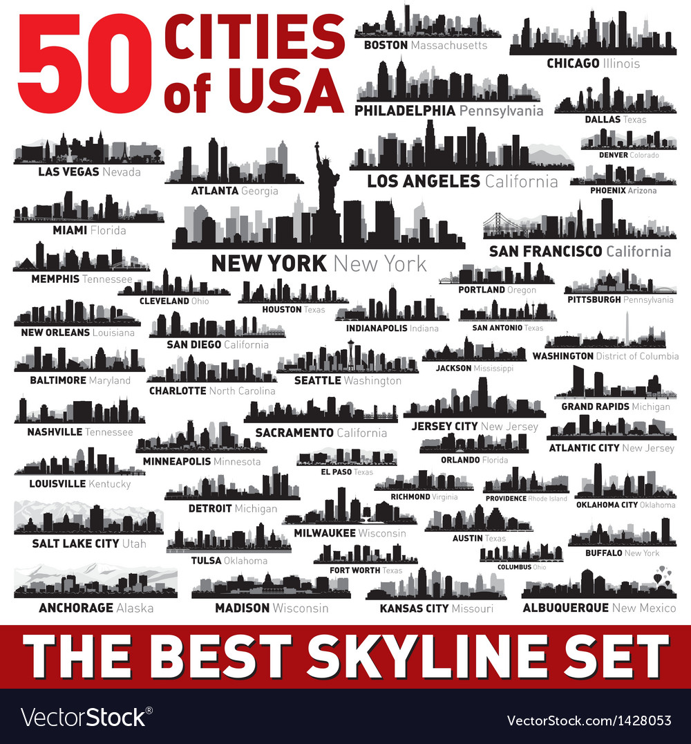 Best city skyline silhouettes set vector
