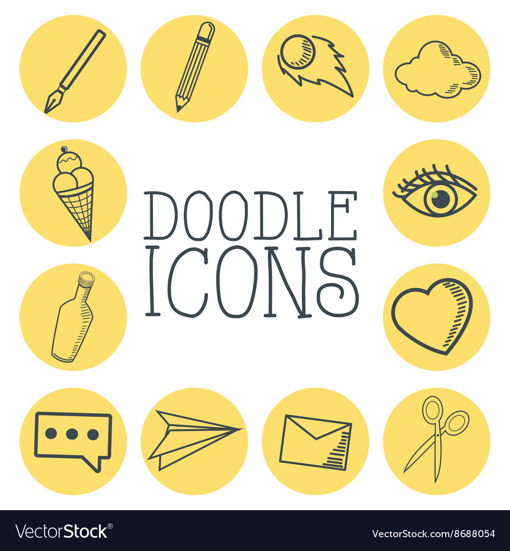 Doodle icon design cartoon icon draw concept vector