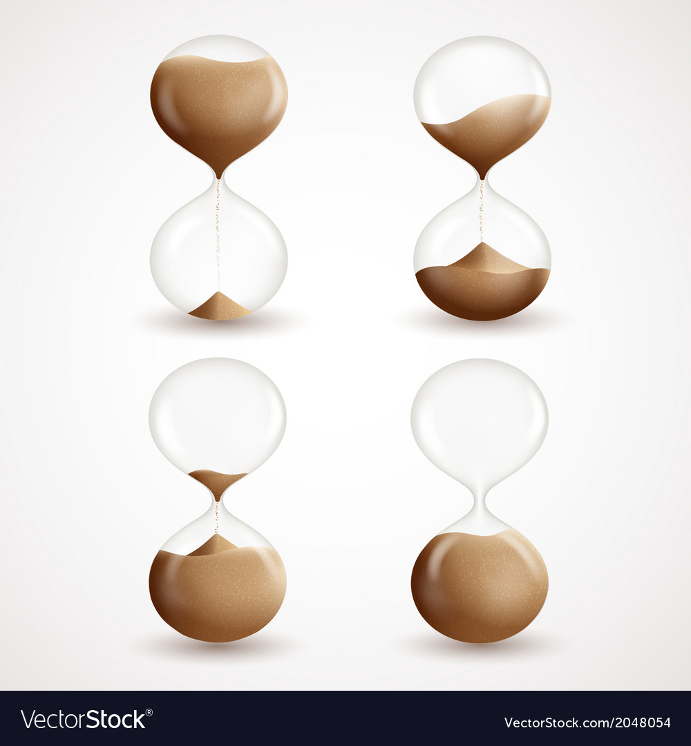 Hourglass decorative icons set vector