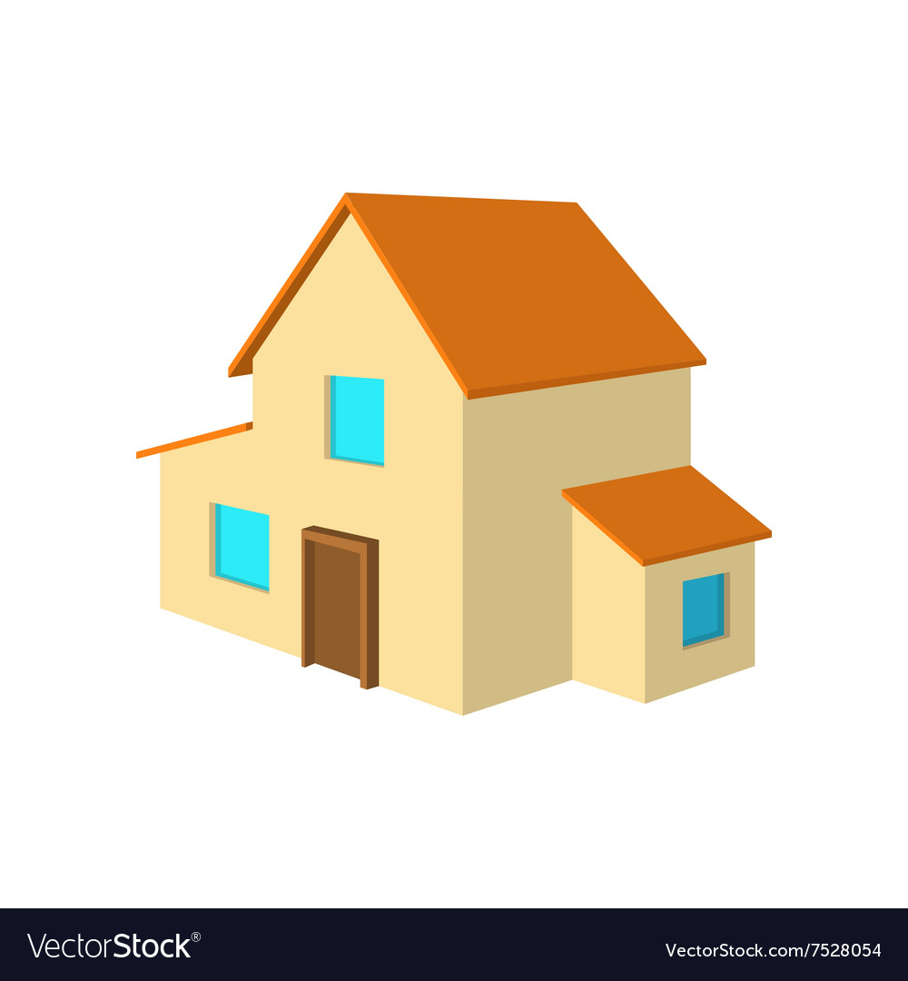 Twostorey house cartoon icon vector