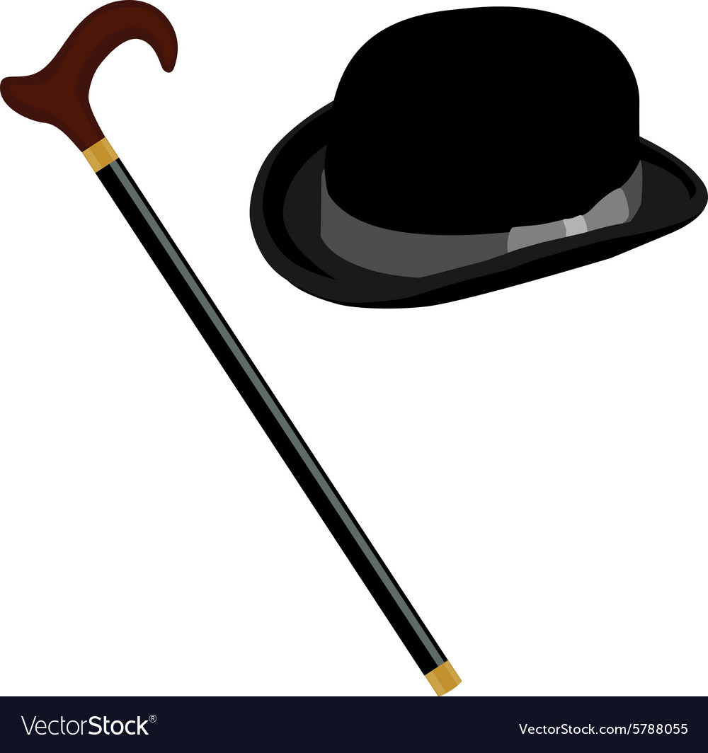 Hat and stick vector