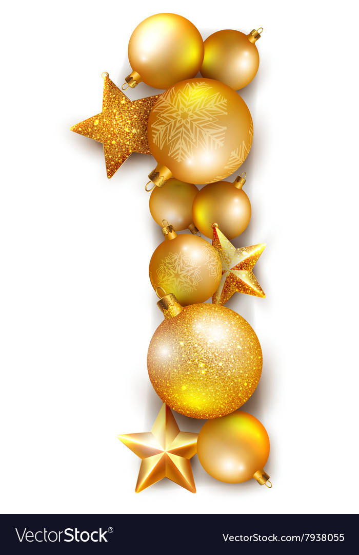 Number 1 made of shiny christmas tree balls vector