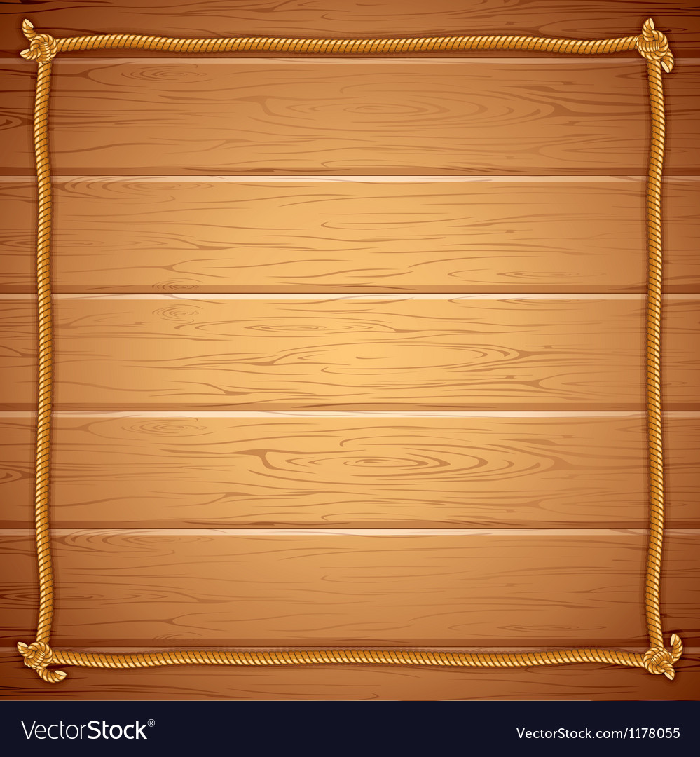 Rope frame on wood template for yuor text vector